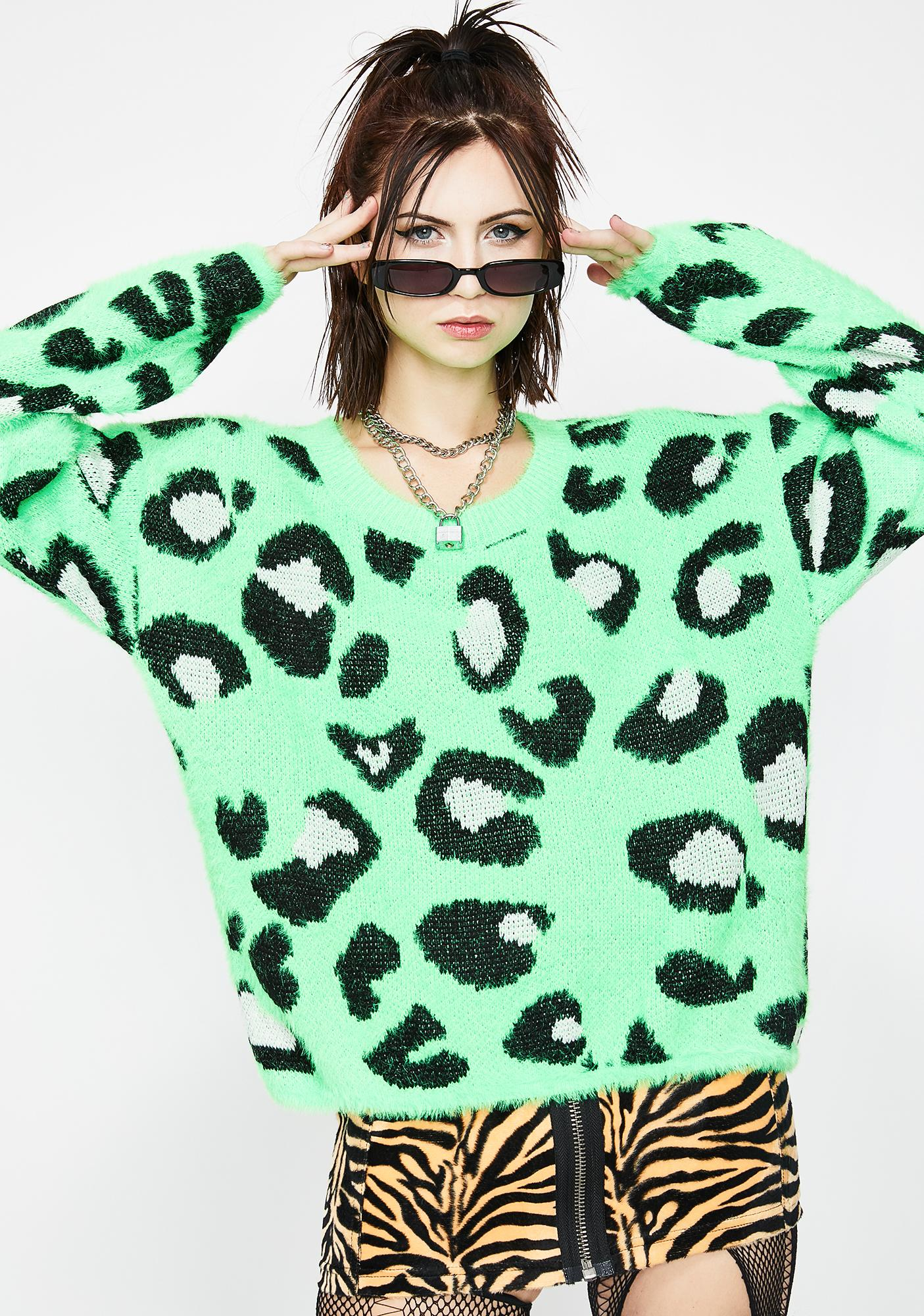 Lime Jungle Wonder Leopard Sweater