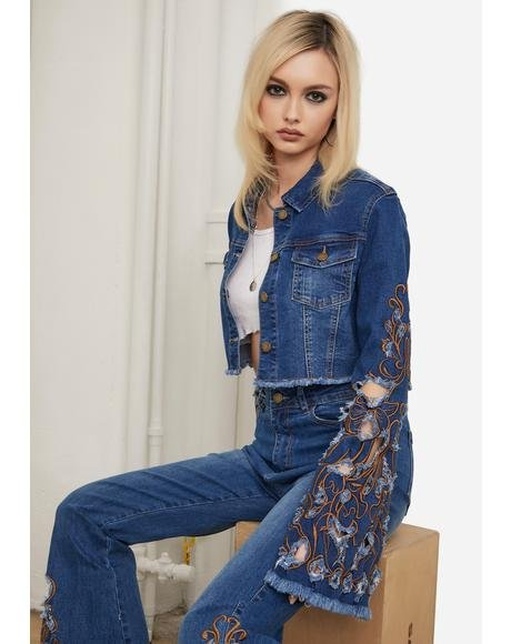 Topaz Rooftop Revival Embroidered Denim Jacket
