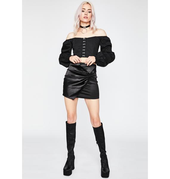 Subtle Finesse Satin Skirt