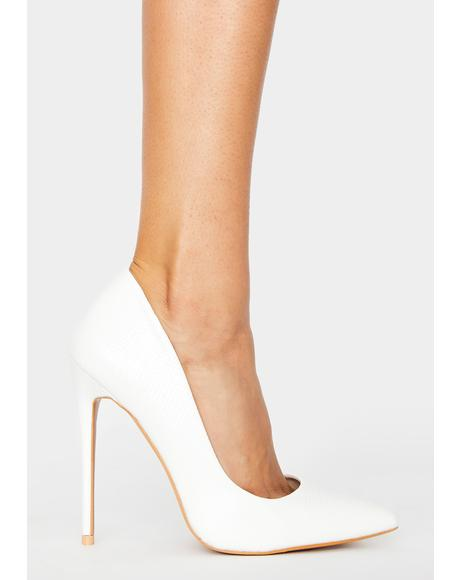 White Snake Guess Stiletto Heels
