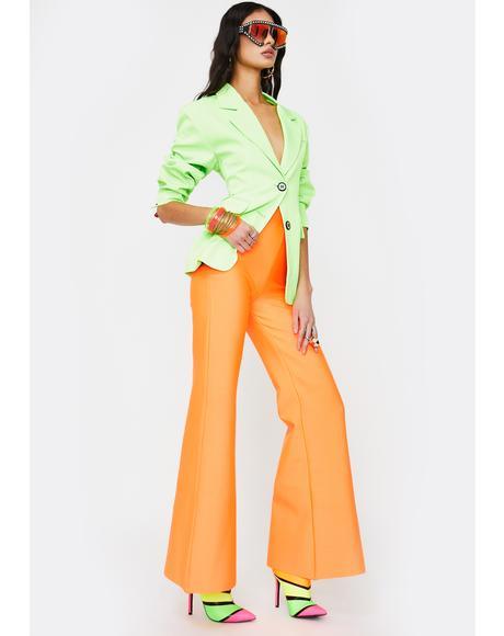 Orange Sylvia Flared Pants