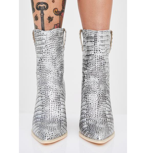 Chrome Toxic Cowboy Snakeskin Boots