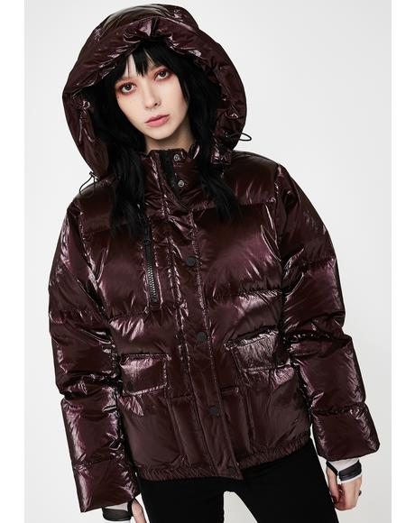 Red Mont Blanc Metallic Puffer Jacket