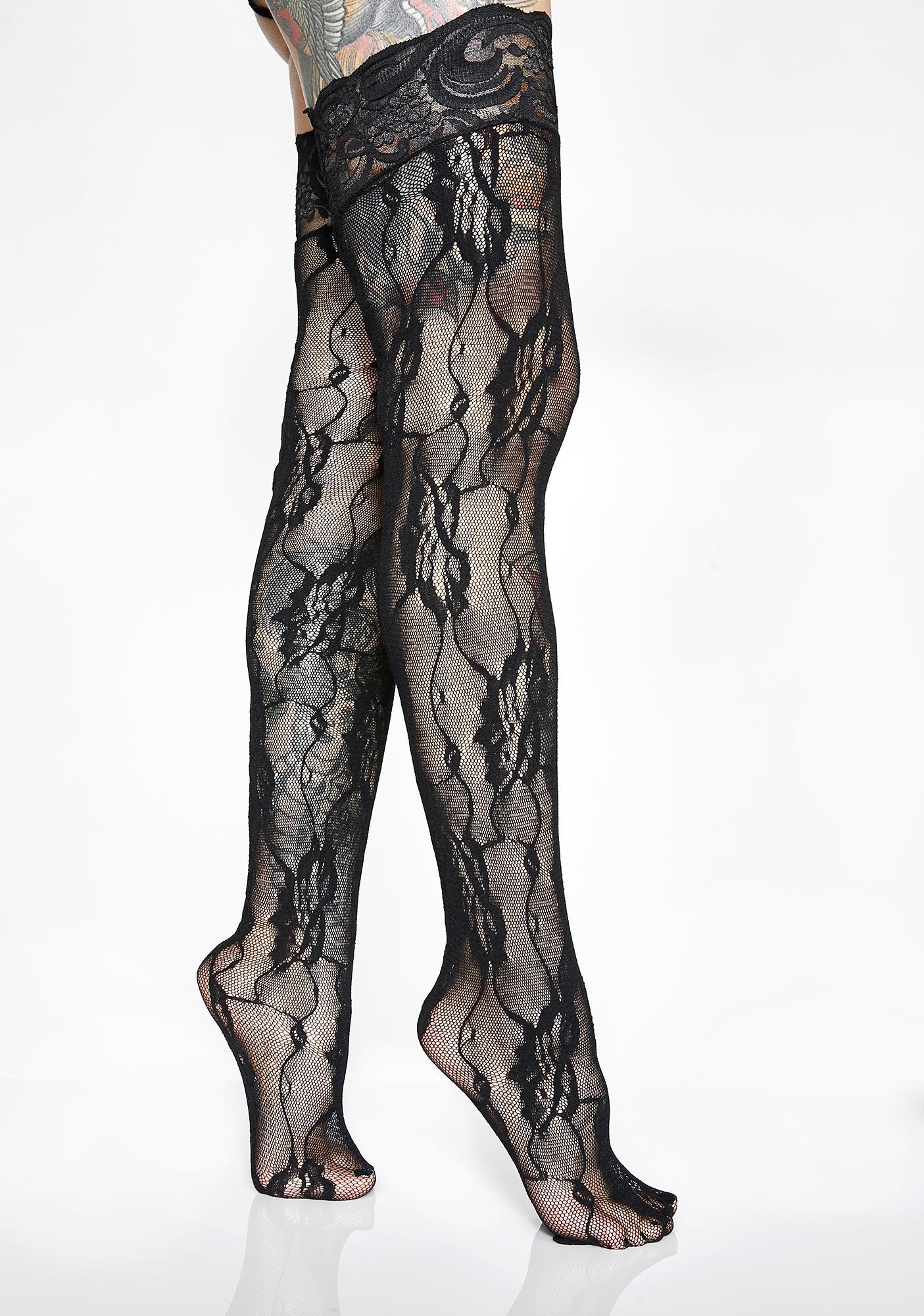 Strut All Ova Lace Thigh Highs