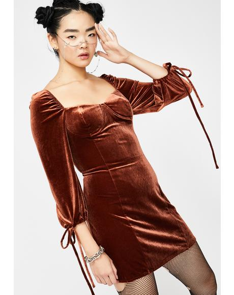 Cocoa Velvet Long Sleeve Dress