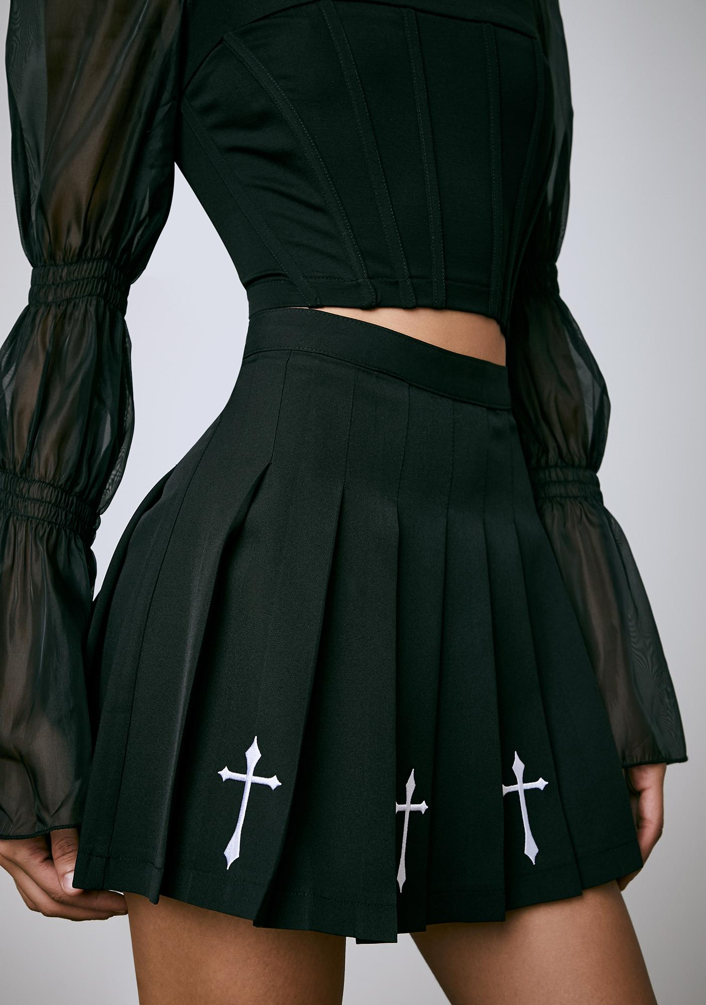 Current Mood Holier Than Thou Embroidered Skirt