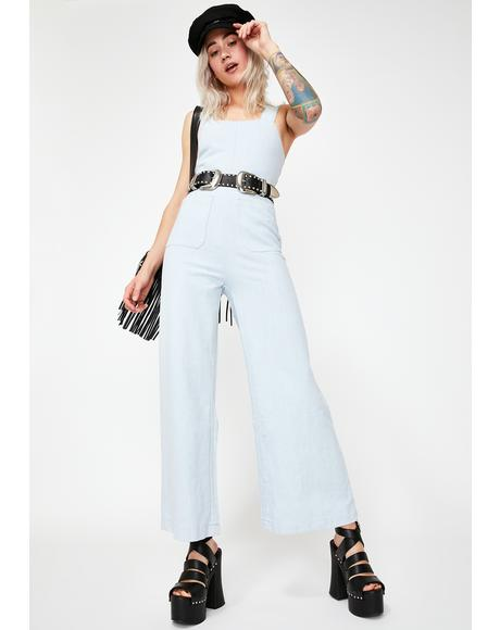 Sky Blue Sailor Ramie Jumpsuit