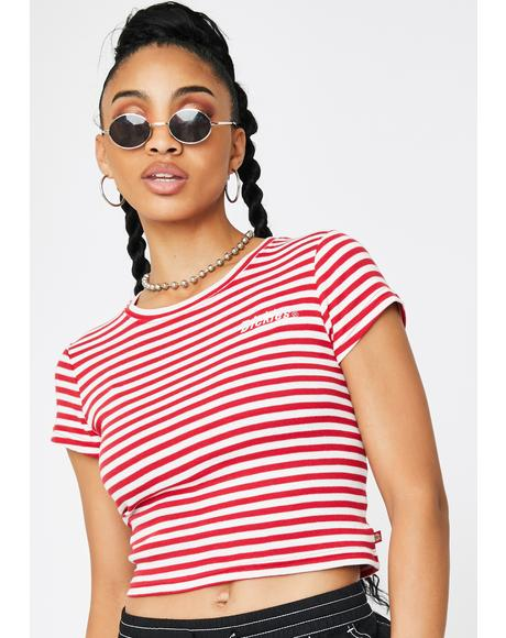 Red Striped Baby Tee