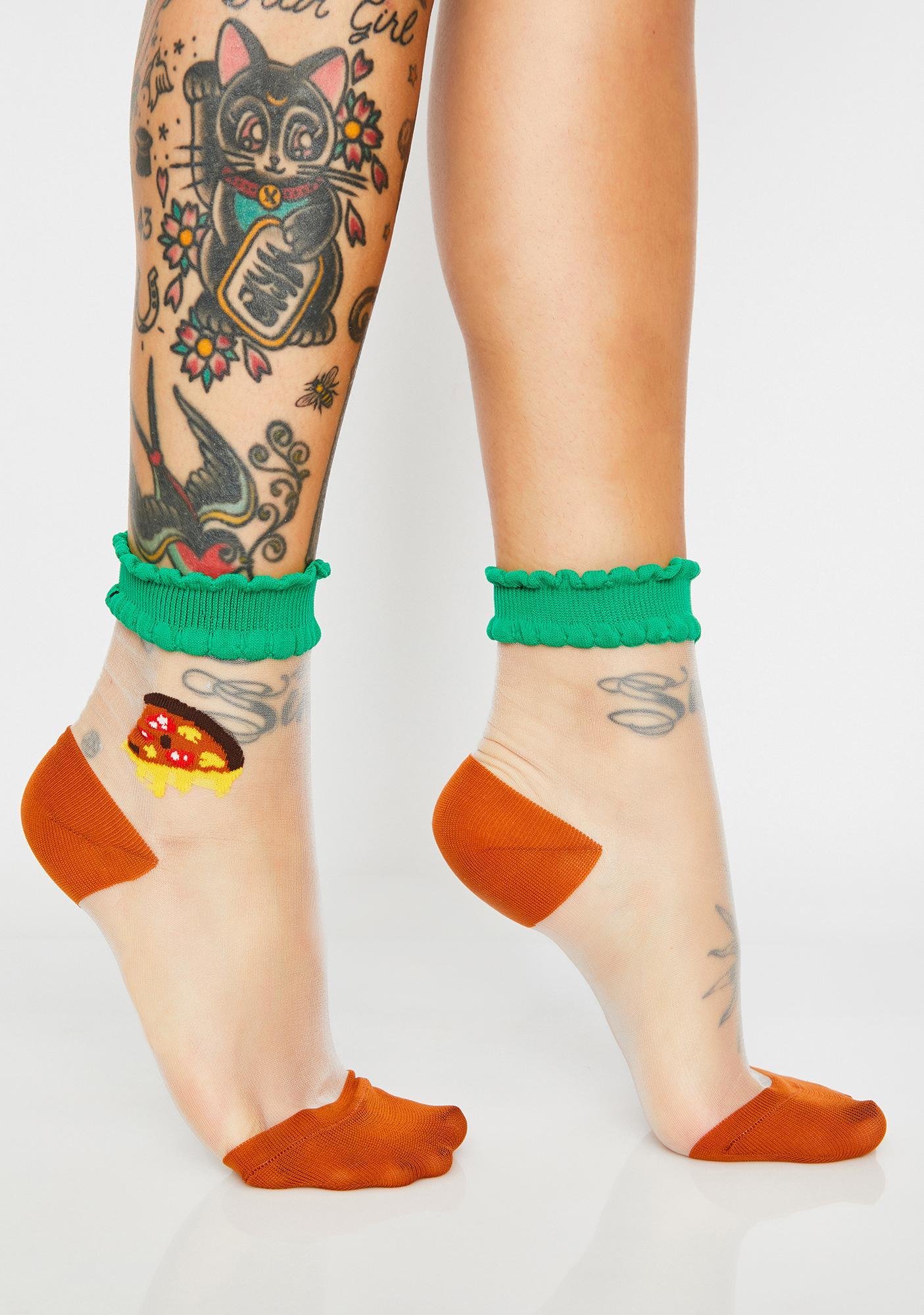 Cheesy Slice Sheer Socks