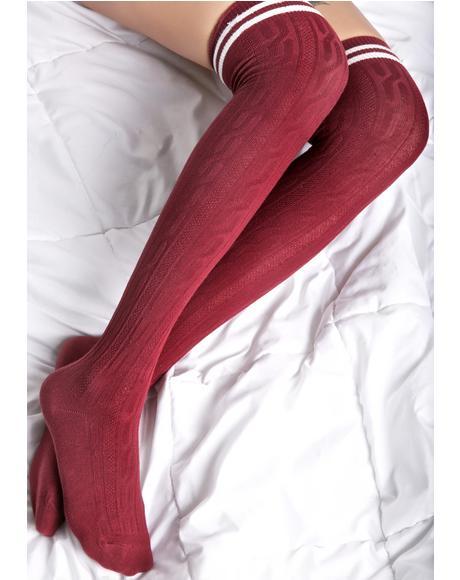 Burgundy Kickin It Thigh High Socks