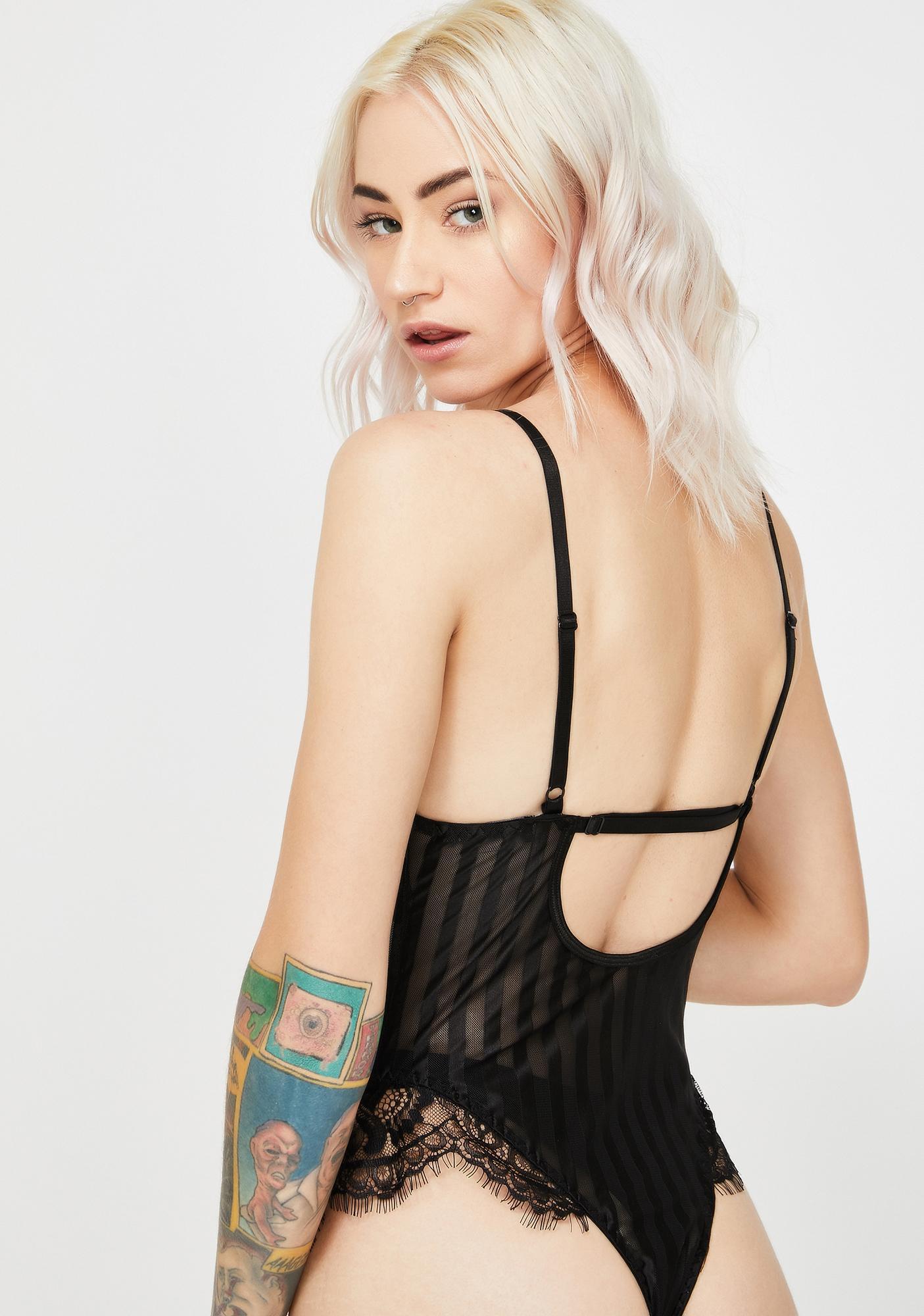 Momokrom Lace Stripe Cami Bodysuit