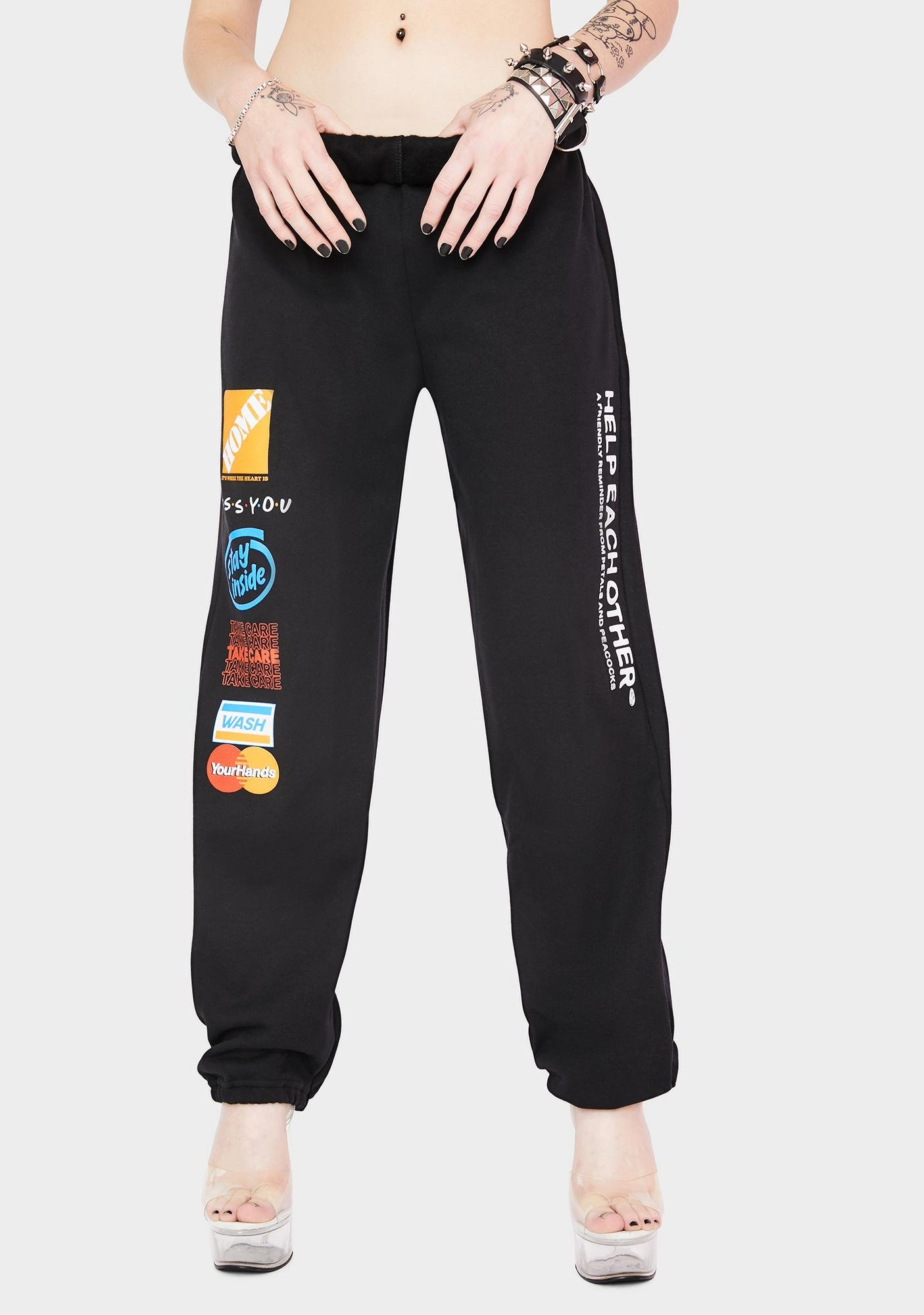 Petals and Peacocks Help Each Other Graphic Sweatpants