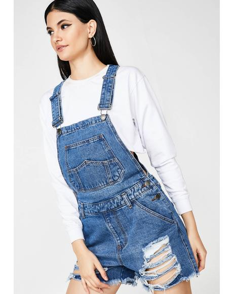 Don't Follow Me Denim Shortalls