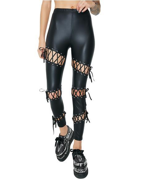 Rebellion Matte Lace-Up Leggings