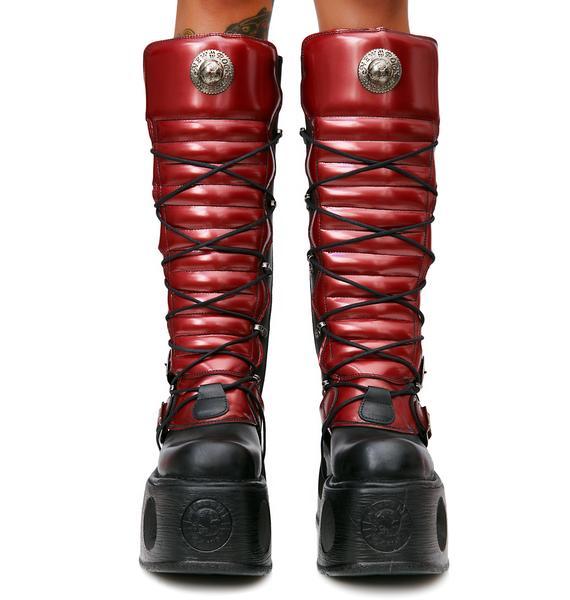 New Rock MegaStomp Lace-Up Buckle Boots