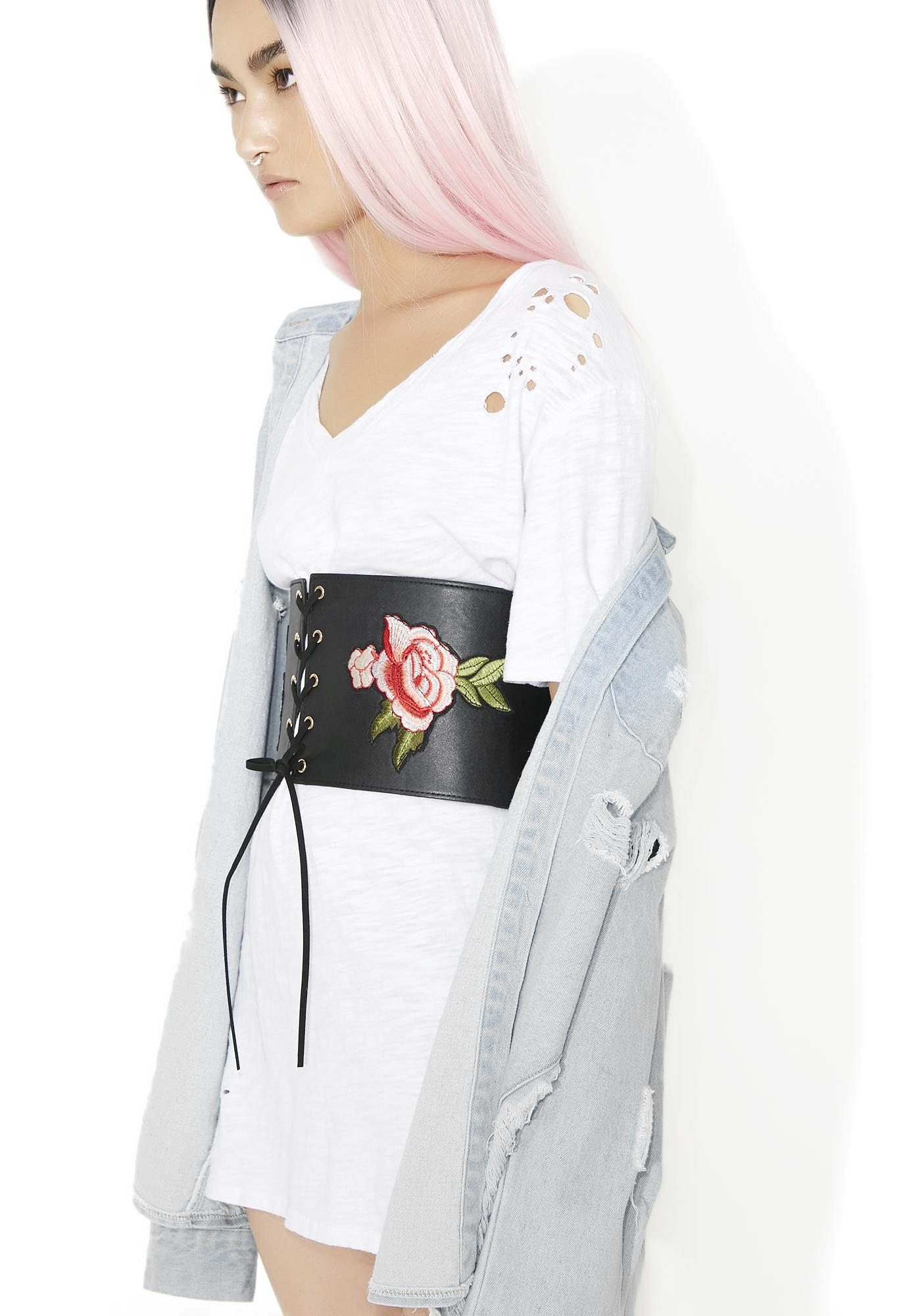 Embroidered rose corset belt dolls kill