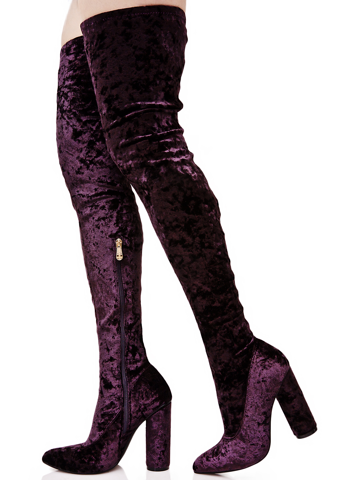 Dark Purple Velvet Thigh High Boots