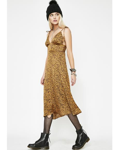 Fiery Feline Slip Dress