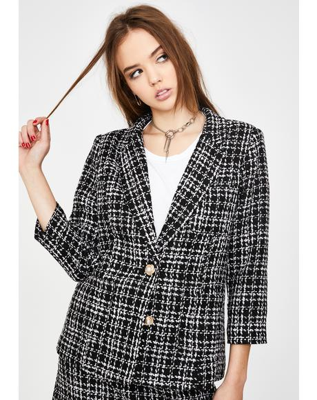 Black Plaid Tweed Blazer