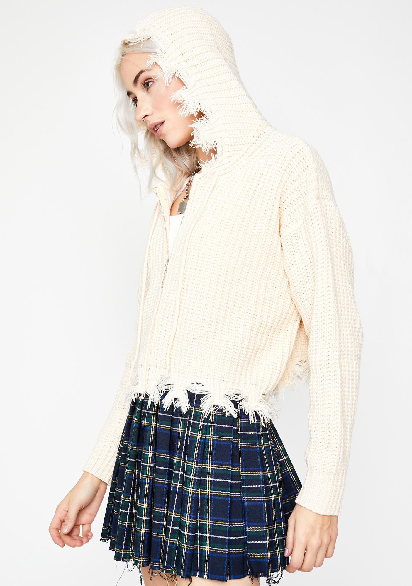 Cream Blessed Distress Hoodie Sweater