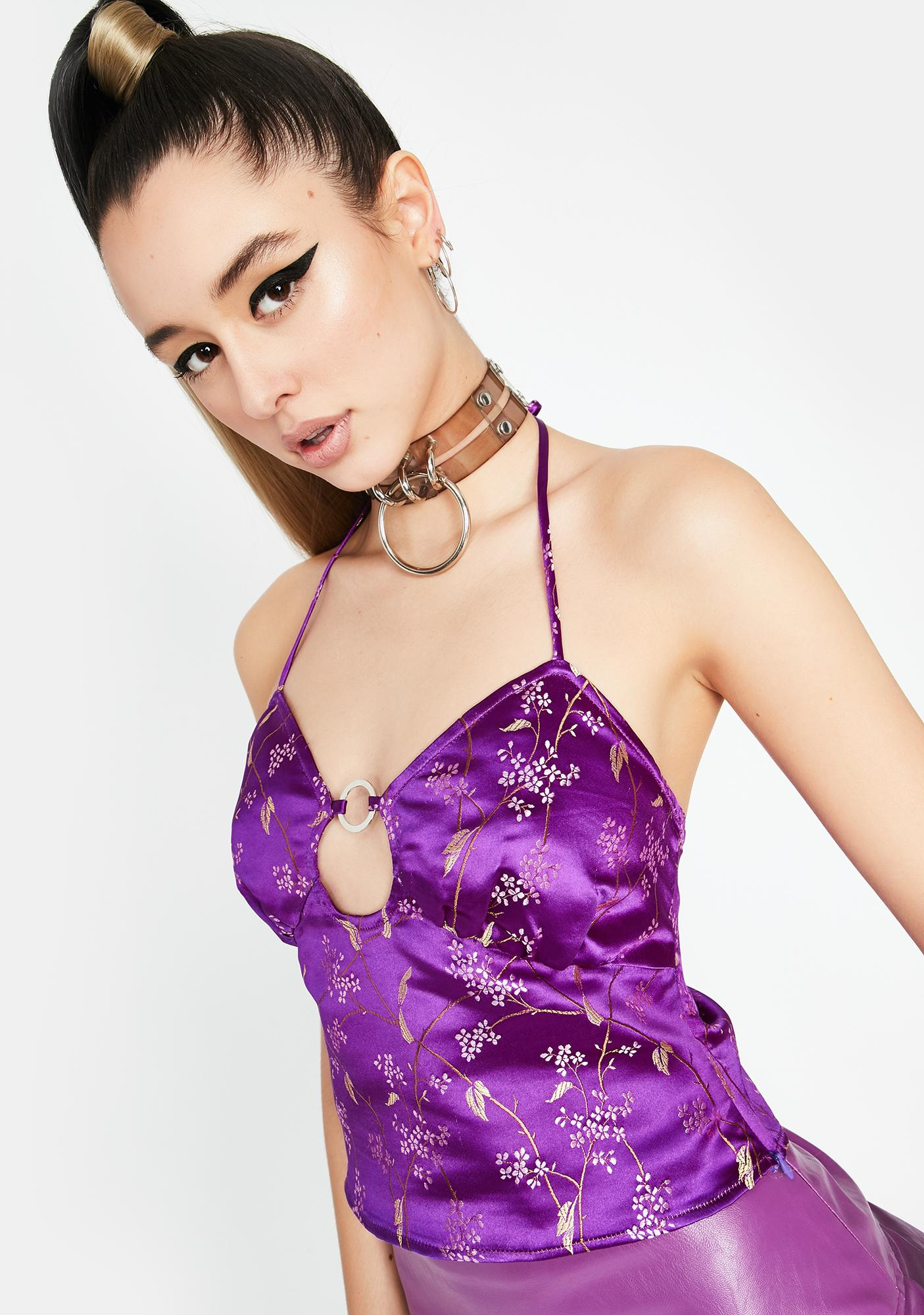 Purp Pleasure N' Pain Brocade Top