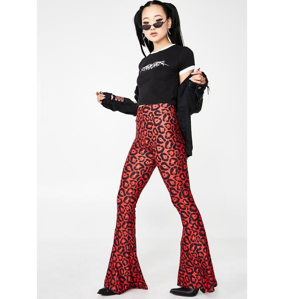 Too Fast Raving Red Leopard Bell Bottom Flares