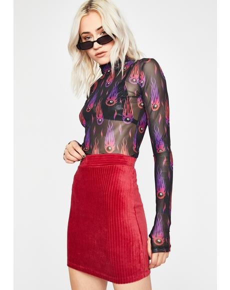 Wine Catch Feelings Corduroy Skirt