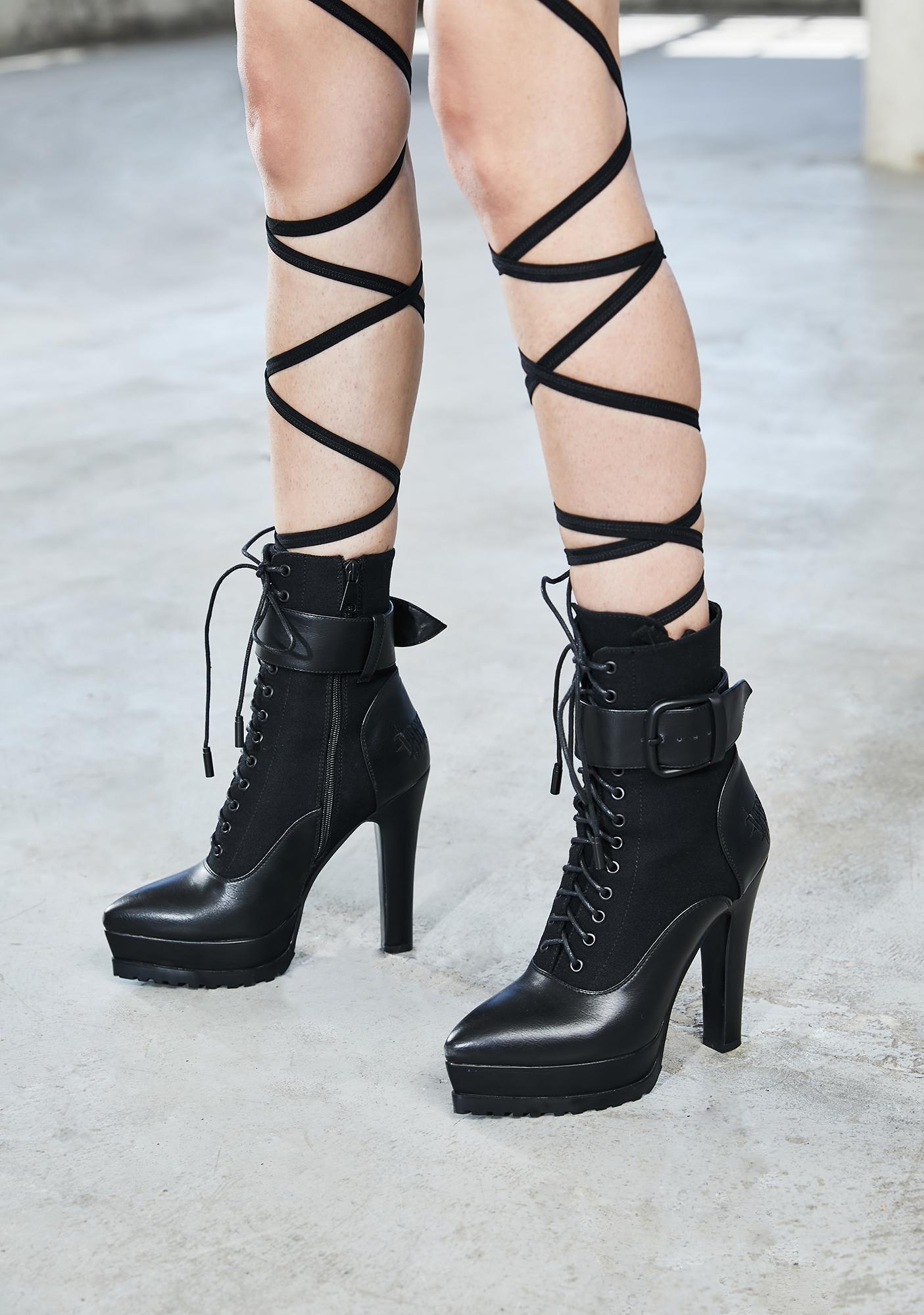 DARKER WAVS Bassline Lace Up Ankle Boots