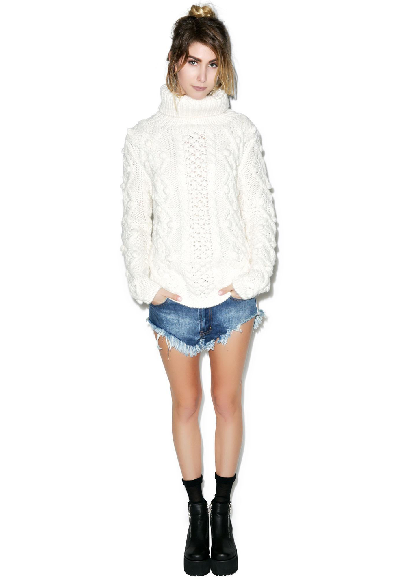 Glamorous Bobble Bobble Cable Sweater