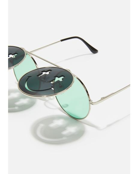 Trippy Sacred Visions Circle Sunglasses