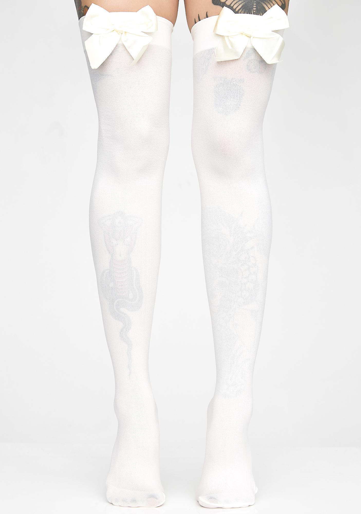ac2331142 Satin Bow Opaque Thigh High Socks