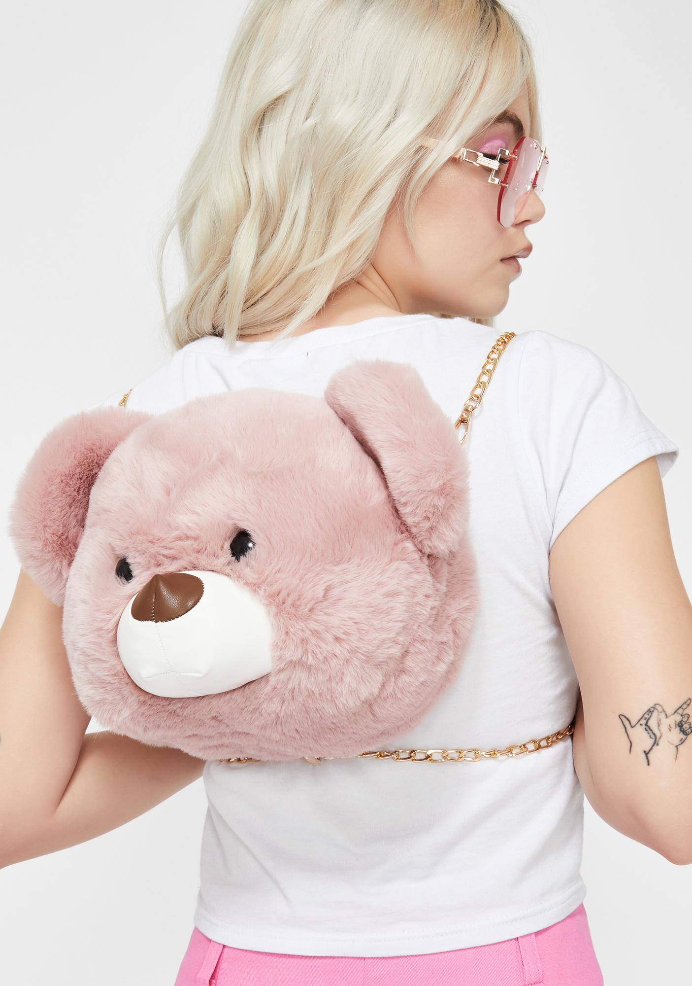 fde708dcb2 Pink Fuzzy Teddy Bear Backpack