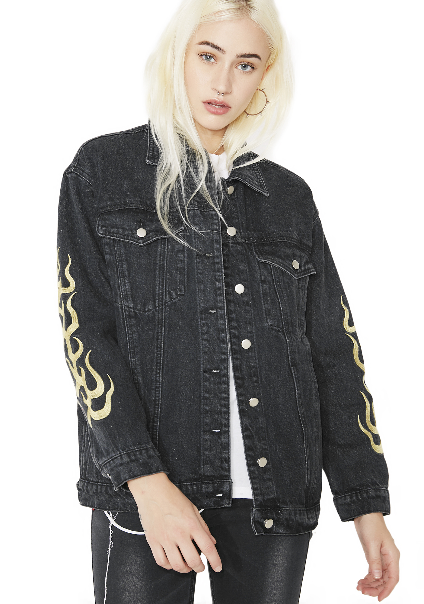 Flame Sleeves Black Denim Jacket