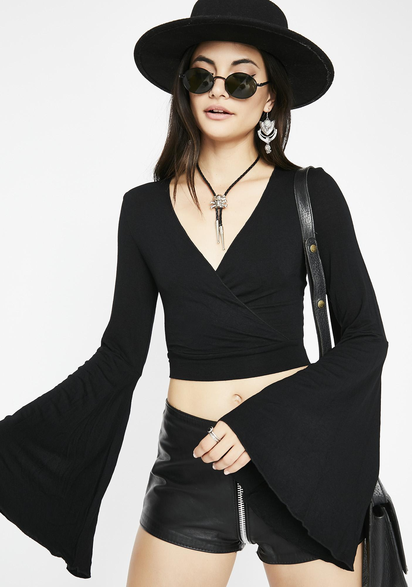 Coven Roll Deep Wrap Top
