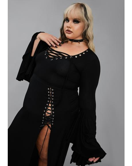 Well Happy Haunting Lace Up Top