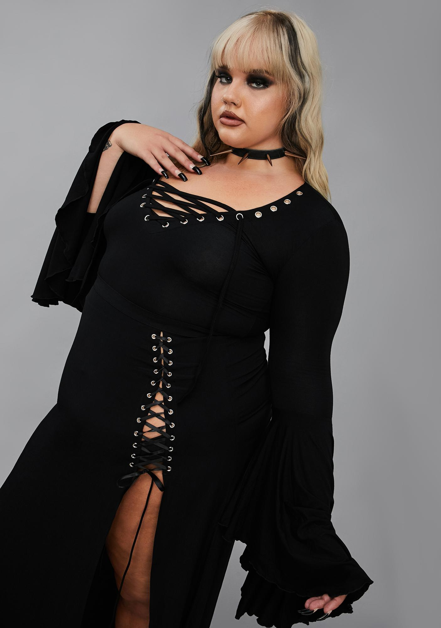 Widow Well Happy Haunting Lace Up Top