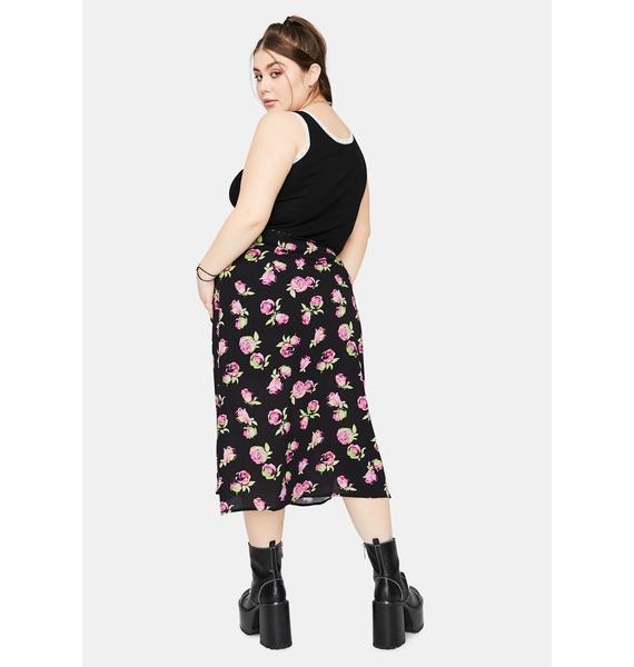 dELiA*s by Dolls Kill She's Lost In Yesterday Floral Midi Skirt