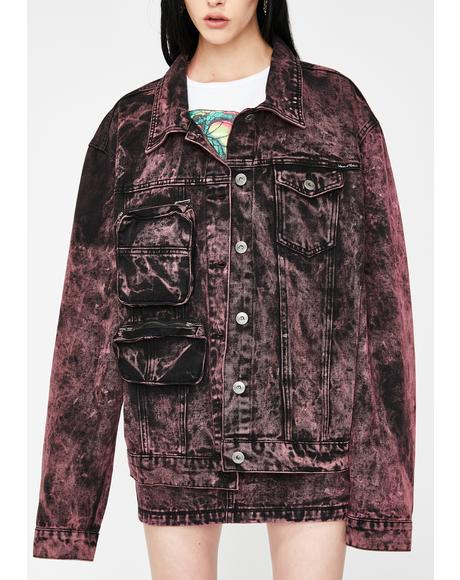 Black & Pink Acid Wash Denim Jacket