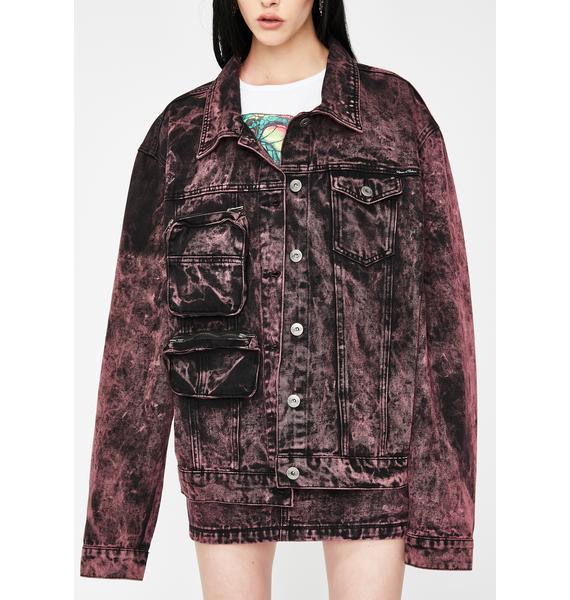 Liquor N Poker Black & Pink Acid Wash Denim Jacket