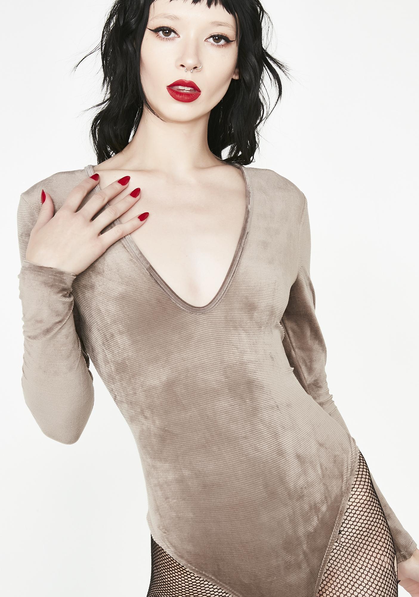 33b67403662c Velvet Plunge Long Sleeve Bodysuit | Dolls Kill