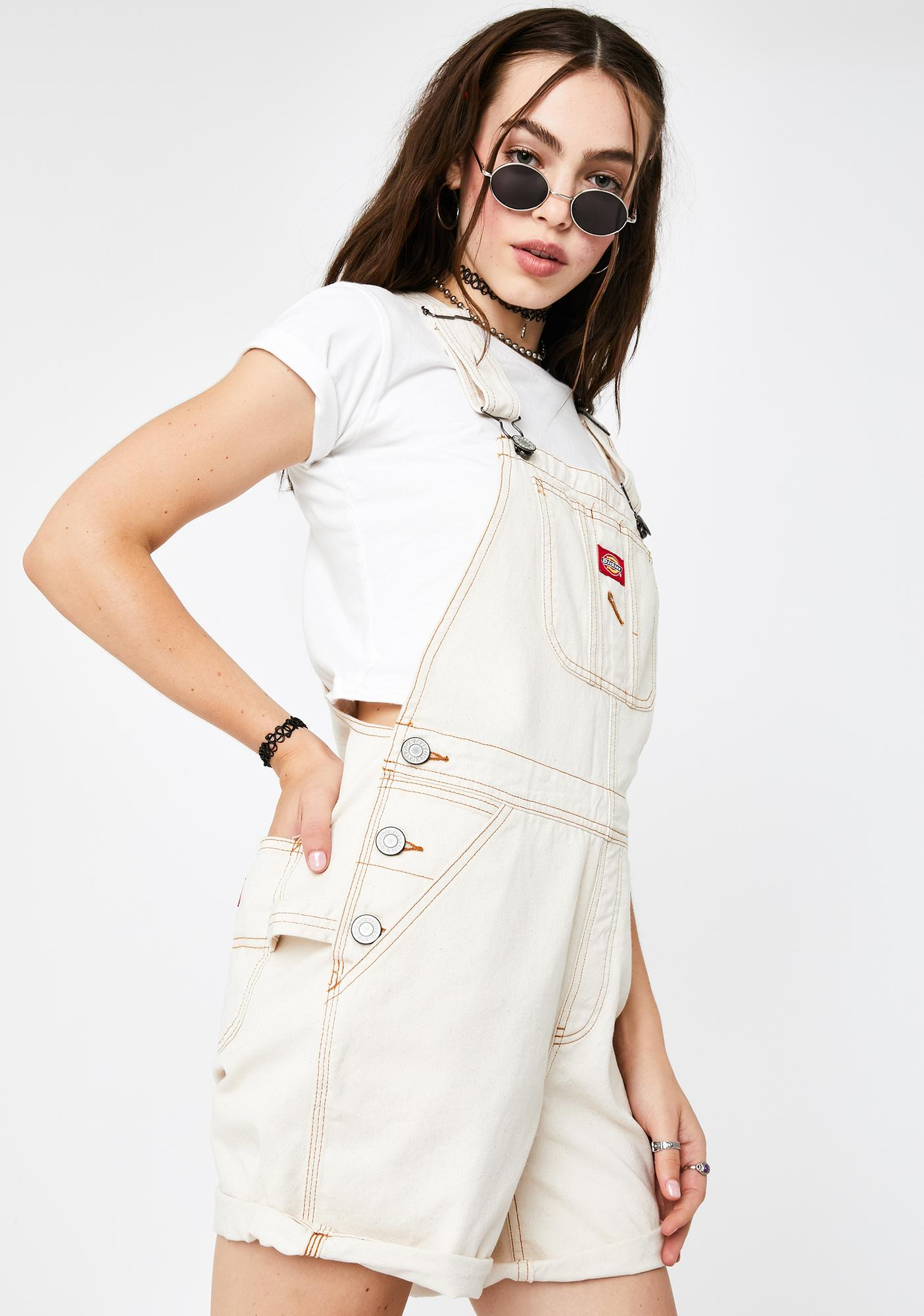 Dickies Girl Natural Roll Hem Shortalls