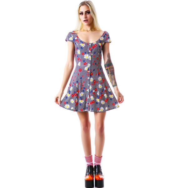 Mink Pink Gingham Daisy Dress