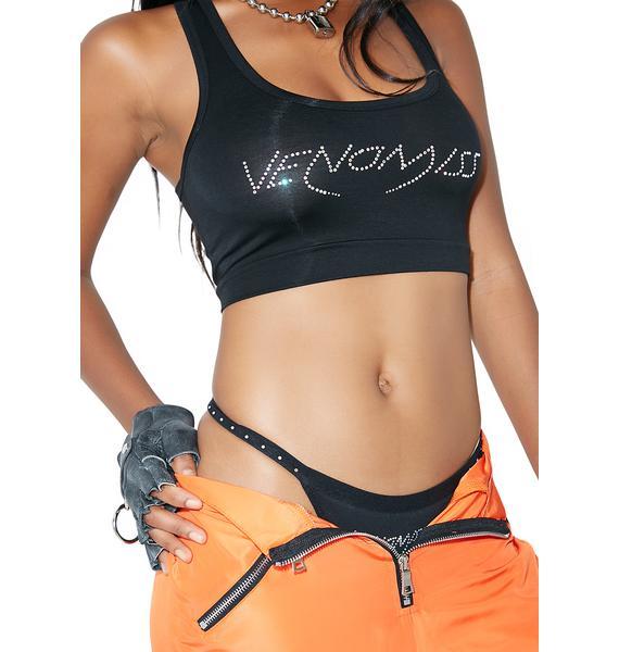 Venomiss NYC Black Baby Crystal Logo Thong