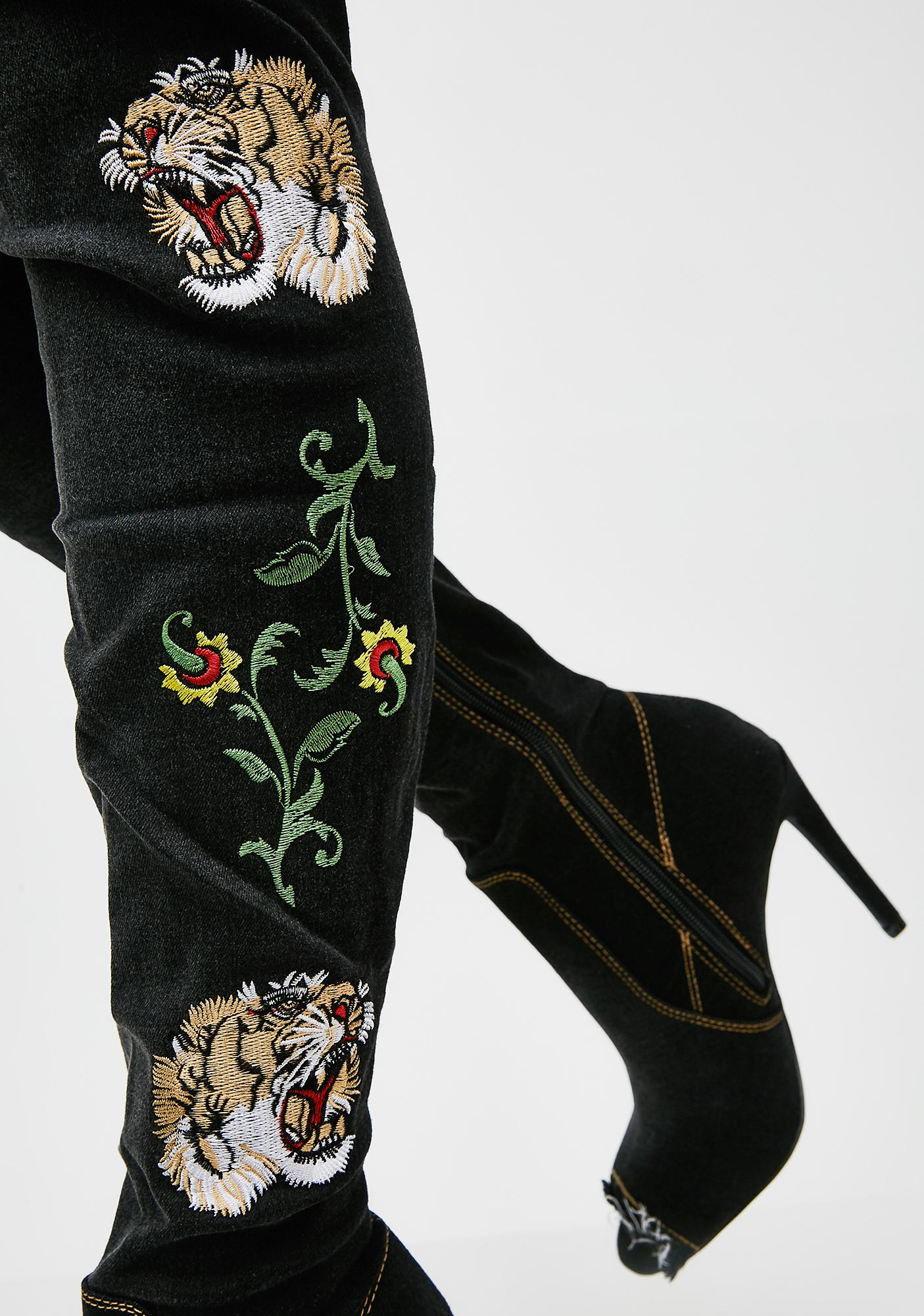 Long Gone Embroidered Thigh-High Boots