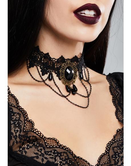 Dark Stone Lace Choker
