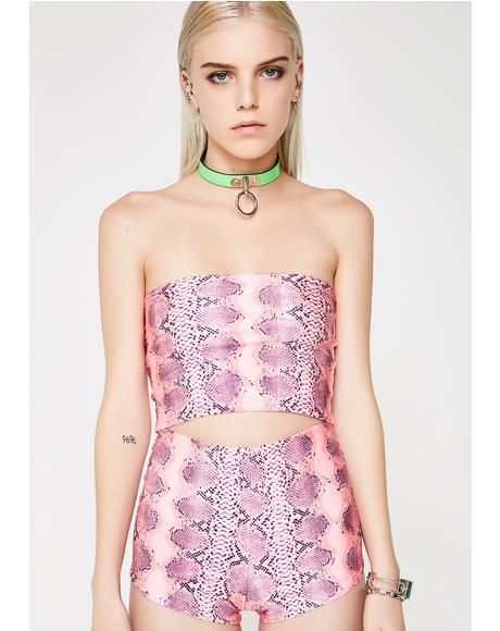 Pink Snake Skin Shorts