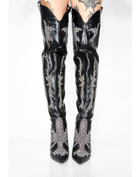 Rhinestone Rider Thigh High Boots