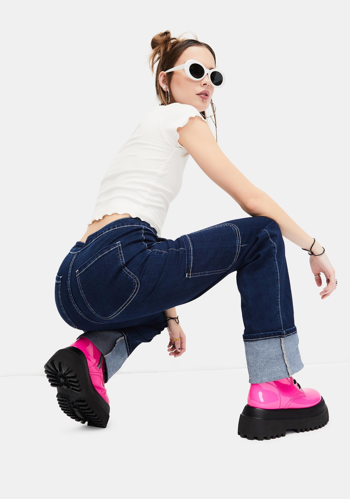 dELiA*s by Dolls Kill Ride The Wave Cuffed Carpenter Jeans