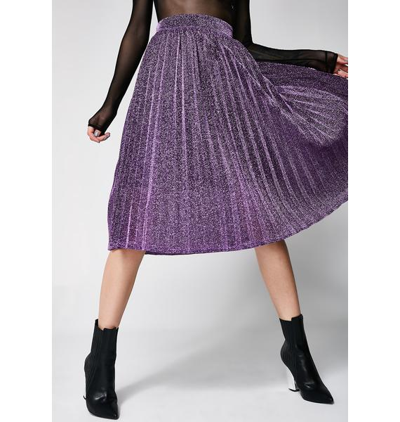Milky Way Pleated Midi Skirt