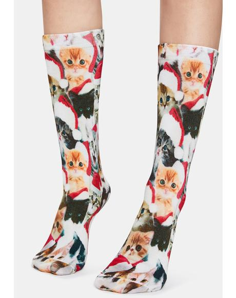 Meowy Catmus Graphic Crew Socks